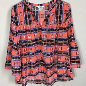 BB Dakota Aztec Flare sleeve blouse